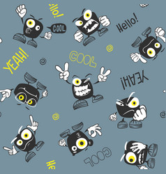 seamless monster pattern print vector image
