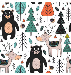 Seamless pattern with animals in forest vector