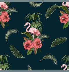 seamless pattern with flamingo and tropical leaves vector image