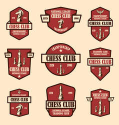 set chess club emblems design element vector image
