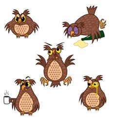 Set isolated emoji character cartoon owl vector
