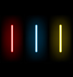 set light red and blue yellow neon letter i vector image