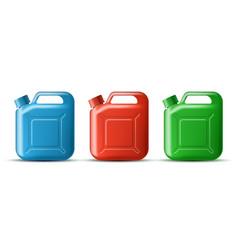 Set plastic canister for storing oil detergent vector