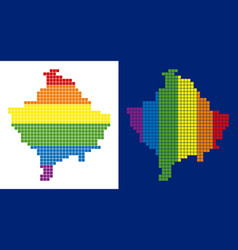 Spectrum pixel dotted kosovo map vector