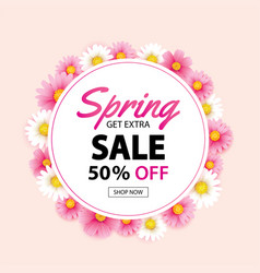 spring sale circle wreath banner with blooming vector image