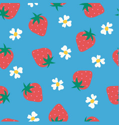 Strawberry flowers seamless background vector