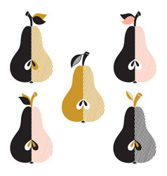 stylized pears set vector image
