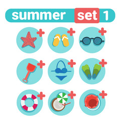 summer holiday icon set beach vacation concept vector image