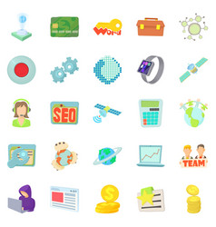 telecommunications icons set cartoon style vector image