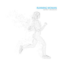 thin line meshed silhouette of running woman on vector image