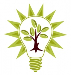 tree and light bulb vector image