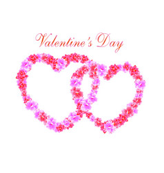 valentine s day two heart of pink flowers sakura vector image