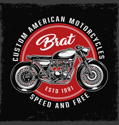 Vintage custom american motorcycle round label vector