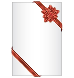 White background with red bow vector