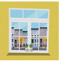 window with view houses on street with road in vector image