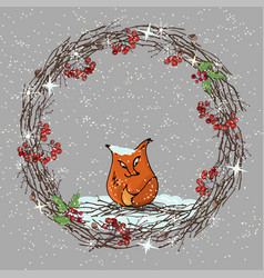 winter a wreath of branches fox on vector image