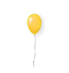 Yellow balloon 3d thread isolated white vector