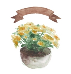 Yellow flower in a flower pot beige ribbon set on vector