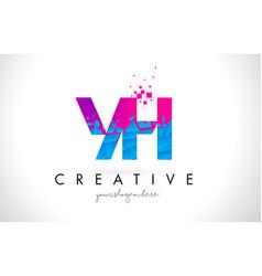 yh y h letter logo with shattered broken blue vector image