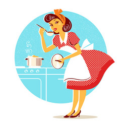 Young housewife in retro fashion dress cooking vector