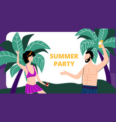 young man and woman dance on sandy beach vacation vector image