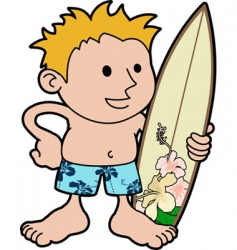 young surfer with board vector image