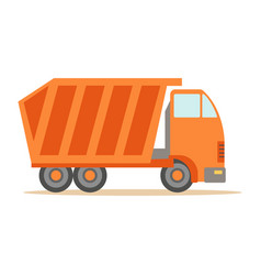 big heavy orange truck part of roadworks and vector image vector image