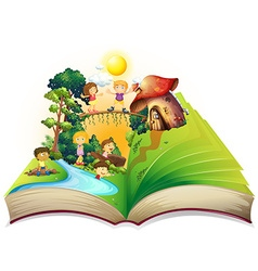 Book of children playing in the park vector image
