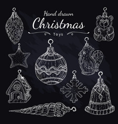 christmas toys set on chalkboard hand drawn vector image