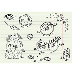 Collection of Cartoon Doodle Monsters 3 vector image
