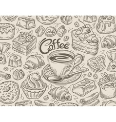hand drawn dessert coffee sketch and food vector image vector image