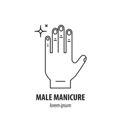 line logo with the image of mens hands vector image vector image