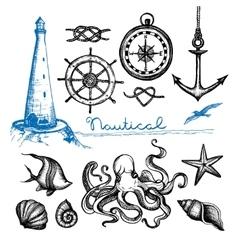 Nautical Hand Drawn Set vector image vector image
