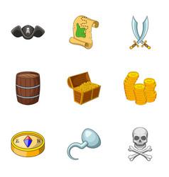Pirate adventure icons set cartoon style vector