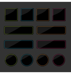 Set of black shiny web buttons with colored lines vector image