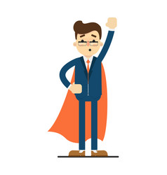 young businessman in superhero cloak vector image vector image