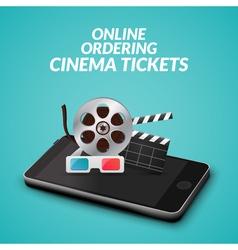 Cinema movie ticket online order concept Mobile vector image