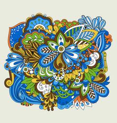 doodle flower set on white vector image vector image