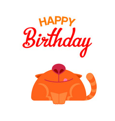 happy birthday cat card vector image vector image
