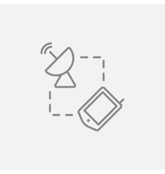 Navigator and satellite dish line icon vector image