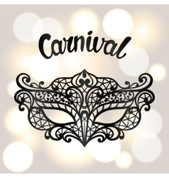 Carnival invitation card with black lace mask vector