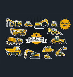 collection of construction equipment special vector image