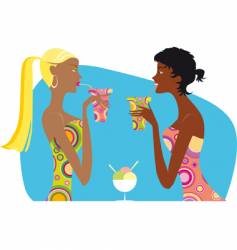 girls drinking cocktails vector image vector image