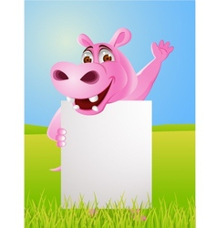 hippo cartoon with blank sign vector image vector image