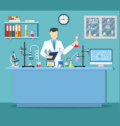 Laboratory assistant with test tube vector