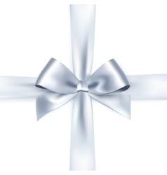 Shiny white satin ribbon vector image vector image