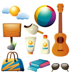 summer theme with board and beachwares vector image