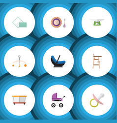 Flat icon baby set of mobile playground children vector