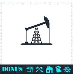 Oil rig icon flat vector