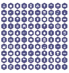 100 productiveness icons hexagon purple vector